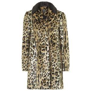 Topshop Faux Fur Leopard Swing Coat XS US2
